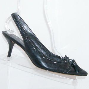 Via Spiga black leather bow slingback heels 8.5M